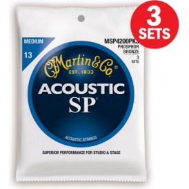 Martin MSP4200 3-Pack Studio Performance Phosphor Bronze 13-56 Med Acoustic Guitar Strings