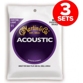 Martin Phosphor Bronze M535 Acoustic Guitar Strings 11-52 Custom Light 3-Pack