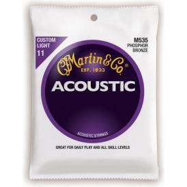 Martin Phosphor Bronze M535 Acoustic Guitar Strings 11-52 Custom Light