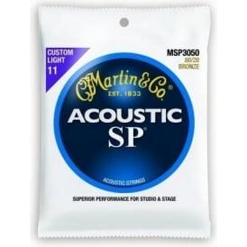 Martin Studio Performance MSP3050 80/20 Bronze Acoustic Guitar Strings 11-52 Custom Light