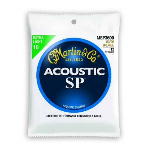 Studio Performance MSP3600 80/20 Bronze Acoustic Guitar Strings 10-47 12-String