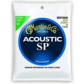 Martin Studio Performance MSP3600 80/20 Bronze Acoustic Guitar Strings 10-47 12-String