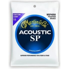 Martin Studio Performance MSP4050 Phosphor Bronze Acoustic Guitar Strings 11-52 Custom Light
