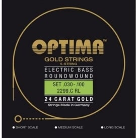 Optima Gold Plated Bass Guitar Strings, 30-100, 5-String, Long Scale