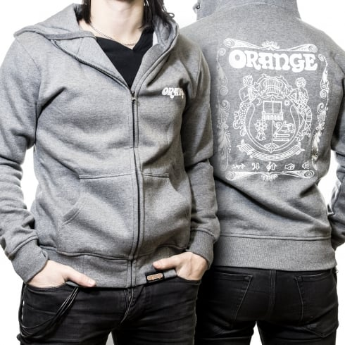 Orange Official Amplifiers Men's Hoodie with Zip, Grey