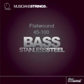 Picato 4-String Stainless Steel Flatwound 45-100 Short Scale Bass Guitar Strings 96658S