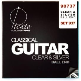Picato Silver & Clear Nylon Normal Tension Ball End Classical Guitar Strings