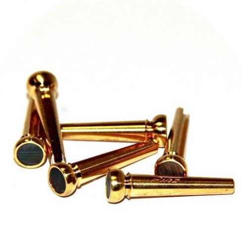 Pinz Brass Acoustic Guitar Bridge Pin Brass Set with Black Mother of Pearl Inlays