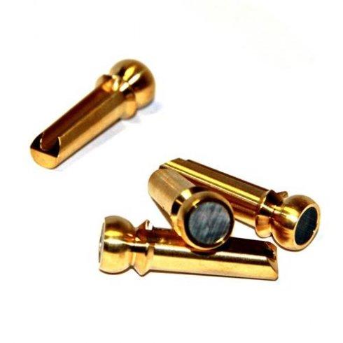 Pinz Brass BASS Guitar Bridge Pins Black Mother of Pearl