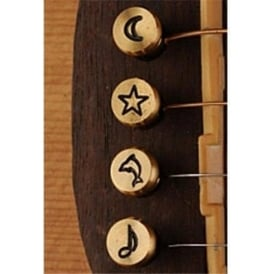 Pinz Brass Acoustic Bridge Pin Set Star