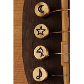 Pinz Brass Acoustic Bridge Pin Set Star