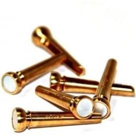 Pinz Brass Acoustic Bridge Pin Set White Mother or Pearl