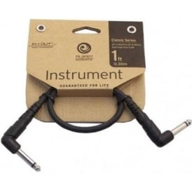 Planet Waves Classic Series 1ft Guitar Effect Patch Cable Angled to Angled Plugs