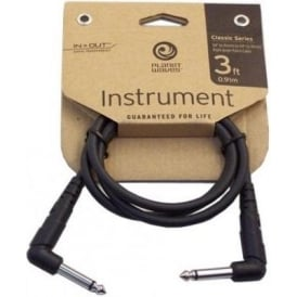 Planet Waves Classic Series 3ft Guitar Effect Patch Cable Angled to Angled Plugs