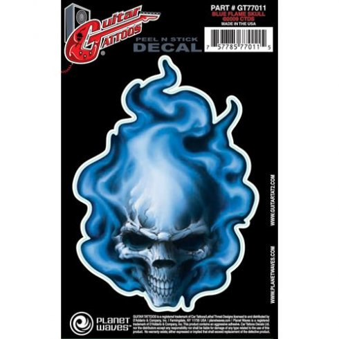 Planet Waves Guitar Tattoo Blue Flame Skull