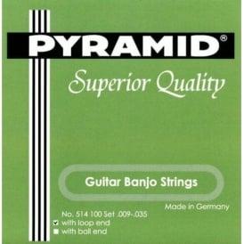 Pyramid 6-String Guitar Banjo Strings Silver Plated 9-35 Loop End 514100