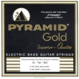 Pyramid Gold 4-String Chrome Flatwound Nickel Long Scale 45-105 Bass Strings