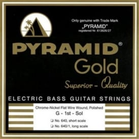 Pyramid Gold 4-String Chrome Flatwound Nickel Short Scale 40-100 Bass Strings