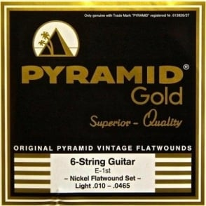 Pyramid Gold Chrome Nickel Flatwound 10-46.5 Electric Guitar Strings