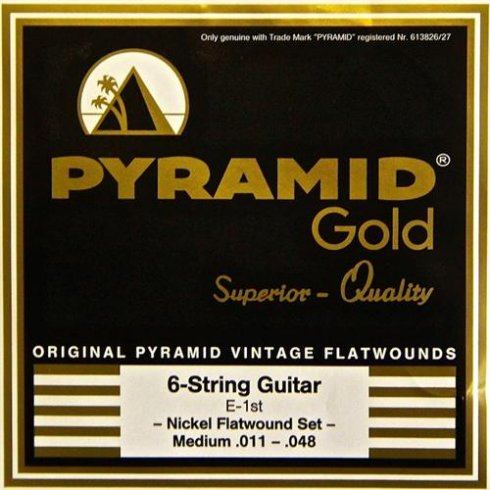 pyramid gold chrome nickel flatwound 11 48 gauge guitar strings. Black Bedroom Furniture Sets. Home Design Ideas