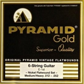 Pyramid Gold Chrome Nickel Flatwound 12-52 Guitar Strings