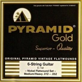 Pyramid Gold Chrome Nickel Flatwound 12-52 Guitar Strings