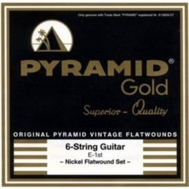 Pyramid Gold Chrome Nickel Flatwound 13-56 True Vintage Guitar Strings