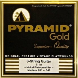 Pyramid Gold Chrome Nickel Flatwound 11-48 Gauge Guitar Strings