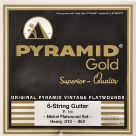 Pyramid Gold Chrome Nickel Flatwound 13-52 Heavy Guitar Strings