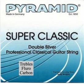 Pyramid SUPER CLASSIC Double Silver Classical Guitar Strings w/ Flourocarbon Trebles, Hard Tension