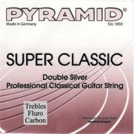 Pyramid SUPER CLASSIC Double Silver Classical Guitar Strings w/ Flourocarbon Trebles, Normal Tension