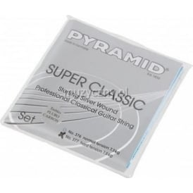 Pyramid SUPER CLASSIC Sterling Silver Classical Guitar Strings w/ Flourocarbon Trebles, Hard Tension