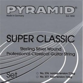 Pyramid SUPER CLASSIC Sterling Silver Classical Guitar Strings w/ Flourocarbon Trebles, Normal Tension