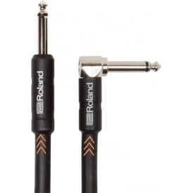 Roland Black Series Instrument Cable, 15ft / 4.5m, Straight-Angled