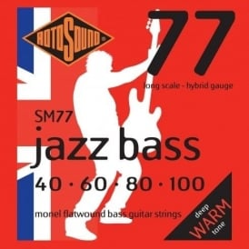Rotosound 4-String Jazz Bass Flatwound Bass Guitar Strings 40-100 Long Scale SM77