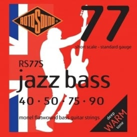 Rotosound 4-String Jazz Bass Monel Flatwound Bass Guitar Strings 40-90 Short Scale RS77S