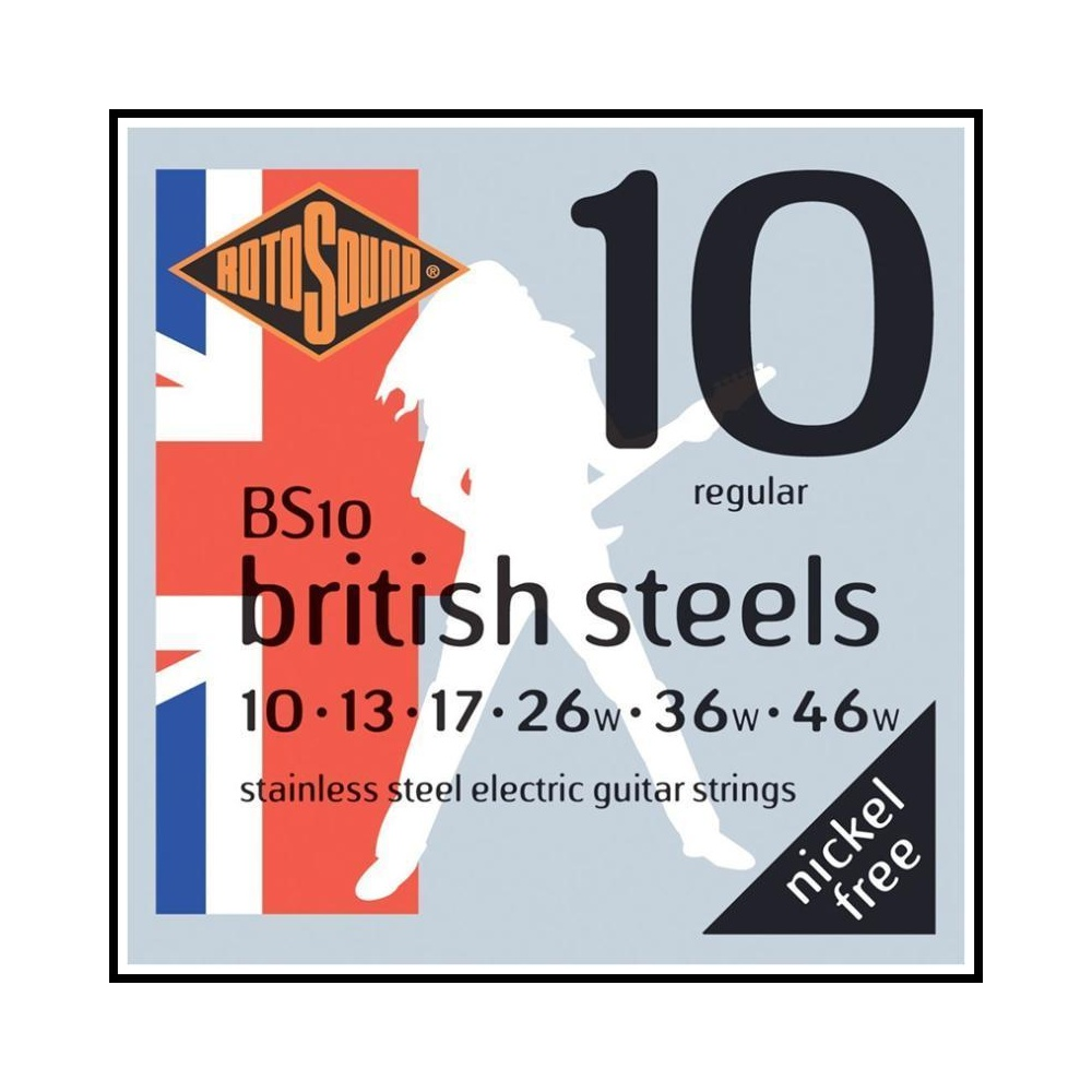 rotosound bs10 british steel stainless electric guitar strings 10 46. Black Bedroom Furniture Sets. Home Design Ideas