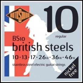 Rotosound BS10 British Steel Stainless Steel Electric Guitar Strings 10-46 Gauge