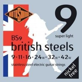 Rotosound BS9 British Steel Stainless Steel Electric Guitar Strings 9-42