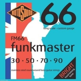 Rotosound FM66 Funkmaster Stainless Steel Roundwound Bass Guitar Strings 30-90 Long Scale