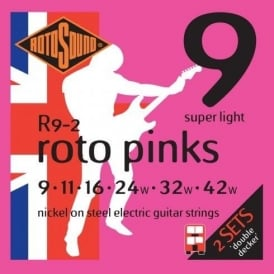 Rotosound R09-2 Roto Pink Nickel Electric Guitar Strings 09-42 Super Light Double Decker 2-Pack