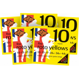 Rotosound R10 Roto Yellow Nickel Electric Guitar Strings 10-46 Regular 5-Pack