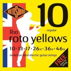 Rotosound R10 Roto Yellow Nickel Electric Guitar Strings 10-46 Regular