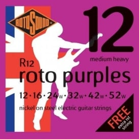 Rotosound R12 Roto Purple Nickel Electric Guitar Strings 12-52 Medium Heavy