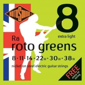 Rotosound R8 Roto Green Nickel Electric Guitar Strings 8-38 Extra Light