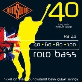 Rotosound RB40 Roto Bass Nickel on Steel Roundwound Bass Guitar Strings 40-100 Long Scale