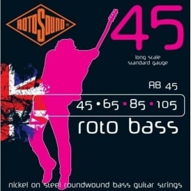 Rotosound RB45 Roto Bass Nickel on Steel Roundwound Bass Guitar Strings 45-105 Long Scale