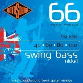Rotosound 4-String Swing Bass Nickel 40-100 Long Scale Bass Guitar Strings SM66N