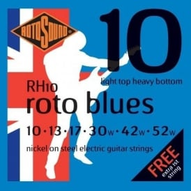 Rotosound R10H Roto Blue Nickel Electric Guitar Strings 10-52 LTHB