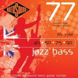 Rotosound RS77M Jazz Bass 4-String Monel Flatwound Bass Guitar Strings 40-90 Medium Scale